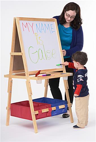 easel for kids a frame chalkboard markerboard with baskets. Black Bedroom Furniture Sets. Home Design Ideas