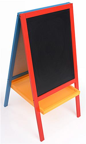 kids easels 3 39 tall wooden display is red yellow and blue. Black Bedroom Furniture Sets. Home Design Ideas