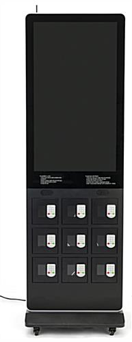 Digital kiosk charging locker with 3 cords in each portal