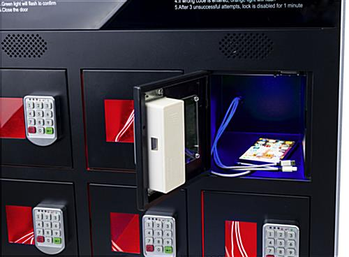 Digital kiosk charging locker with three power cords