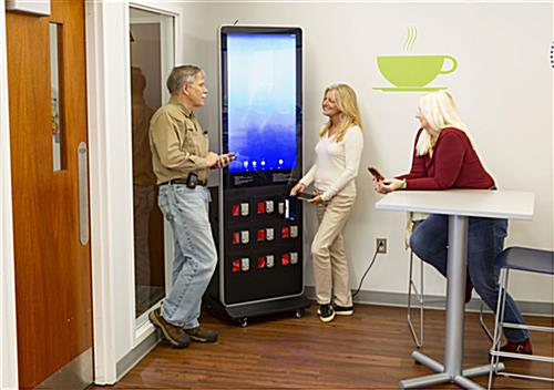 Digital kiosk charging locker with ample power supply portals
