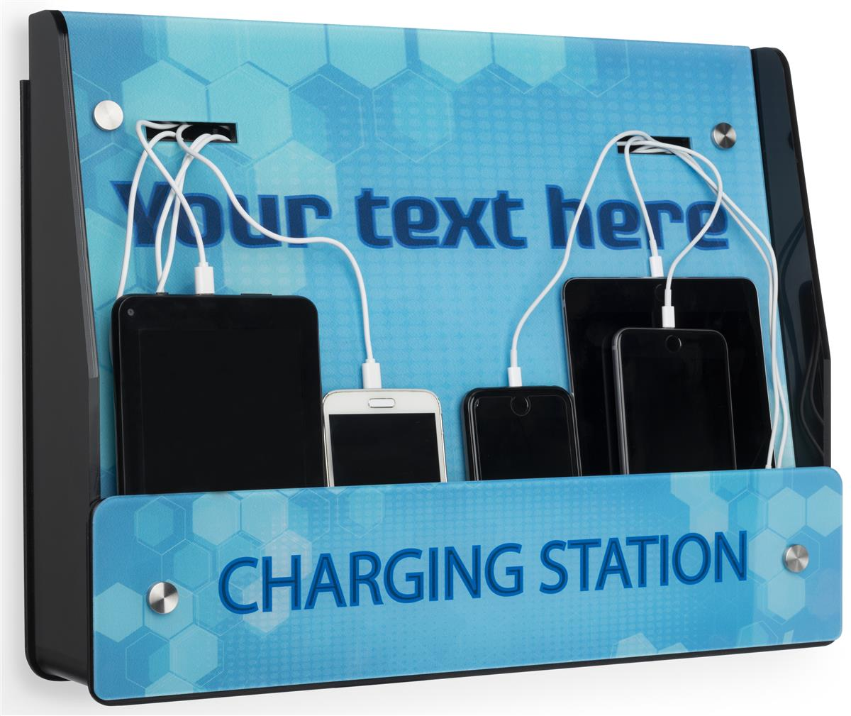 Wall Mount Mobile Charging Station Custom Text Option