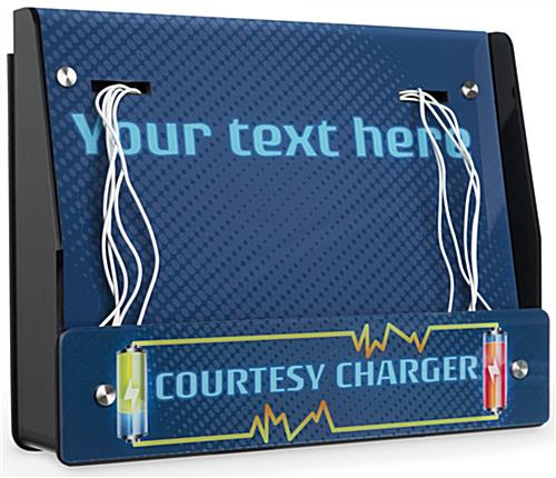 Wall Mount Device Charger Station with Editable Text Field