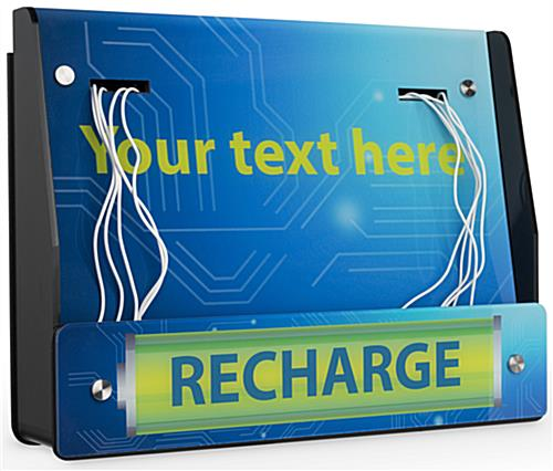 Wall Mount Device Recharge Station with Customizable Text Field