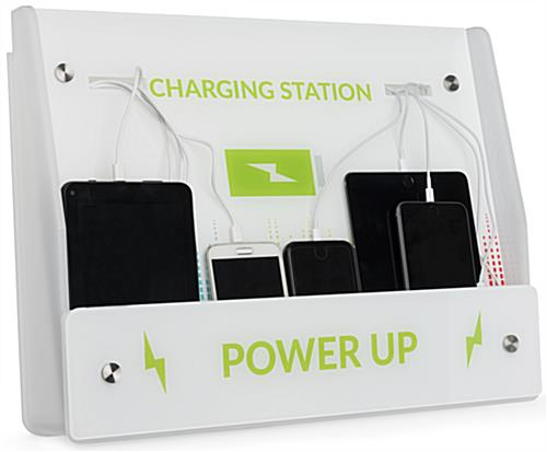 White Mobile Phone Wall Charging Kiosk