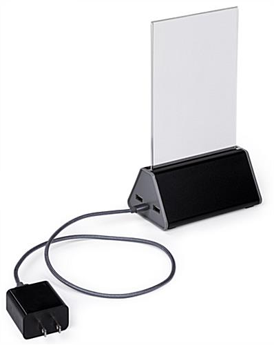 "Black and Silver power bank menu holder with 24"" Charging Cord"