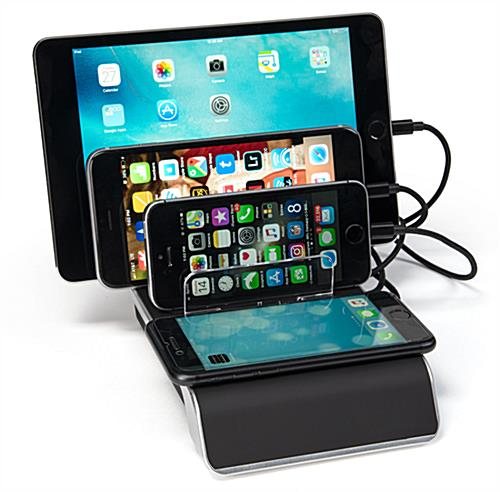 4 port USB charger dock with wireless pad for multi-charging functionality