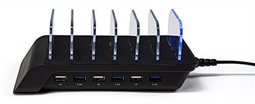 6 Port USB charging station with (3) 1A and 2.4A charging ports
