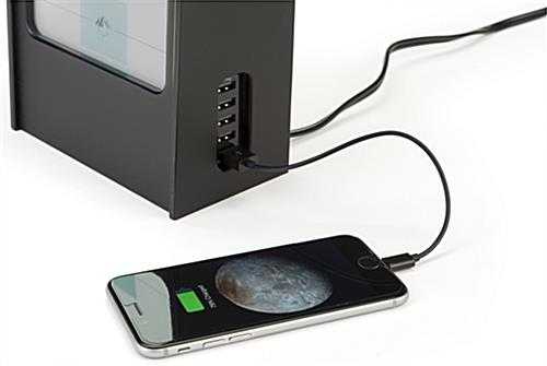 Restaurant menu power bank charges phones and mobile devices