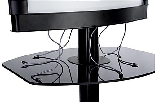 Commercial phone charging station with lightbox frame with braided cables