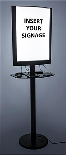 Illuminated commercial phone charging station with lightbox frame