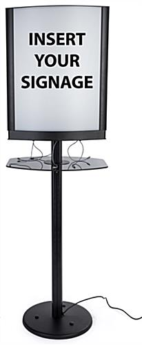 LED backlit commercial phone charging station with lightbox frame