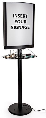 Commercial phone charging station with lightbox frame and 6 cords