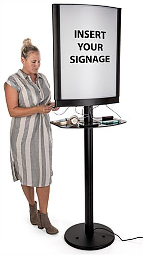 Commercial phone charging station with lightbox frame and acrylic shelf