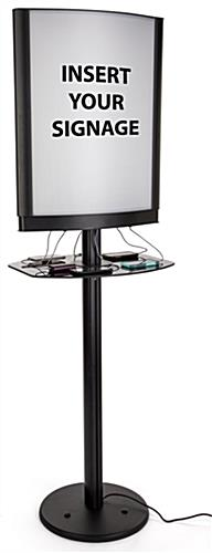 Double-sided commercial phone charging station with lightbox frame