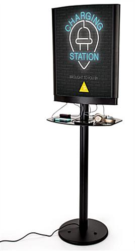 Commercial phone charging station with light box capabilities