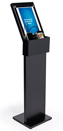 black mobile charging station with floor sign holder for waiting room