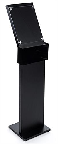 black mobile charging station with floor sign holder and phone charging pocket