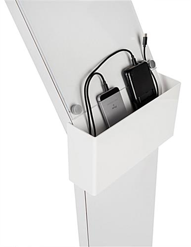 cell phone charging station with sign with braided charging cables