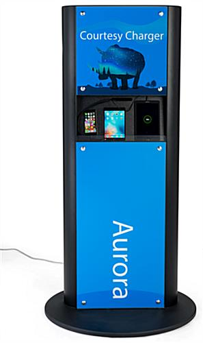 Advertising charging kiosk for cell phones and tablets