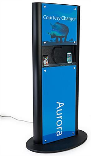 Advertising charging kiosk with sturdy base