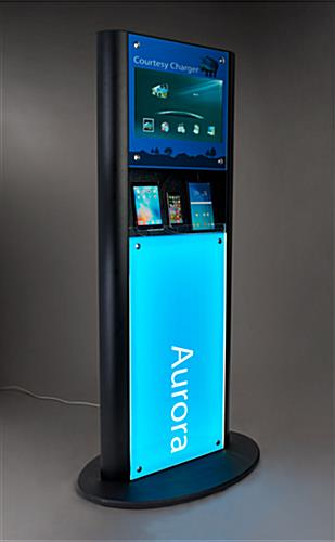 Illuminated LED backlit recharge station with digital advertising display