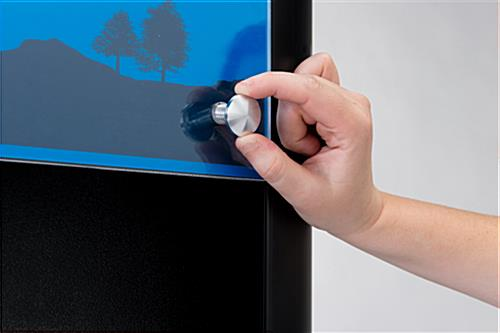 LED backlit recharge station with digital advertising display and removable graphics