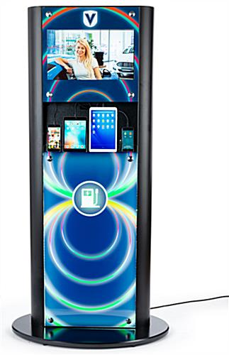 LED backlit recharge station with digital advertising display and custom graphics