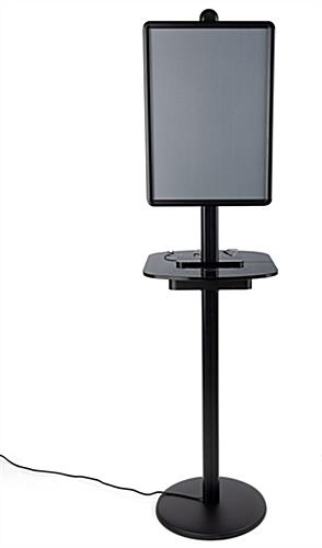 Black poster frame wireless charging station table with Micro-USB, Apple Lightning, and Type-C Cables