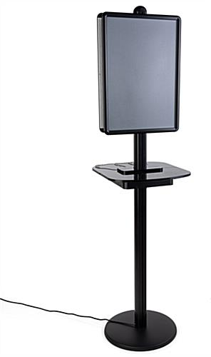 Poster frame wireless charging station table with anodized black finish