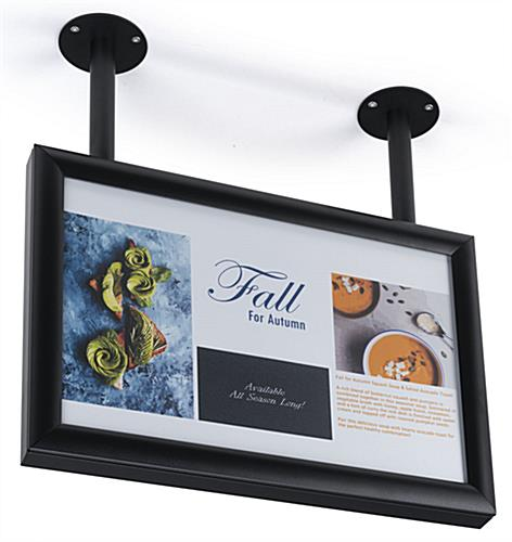 Ceiling wide sign frame flange mount with dual installation posts