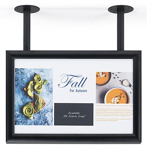 "Ceiling wide sign frame flange mount for 17"" x 11"" prints"