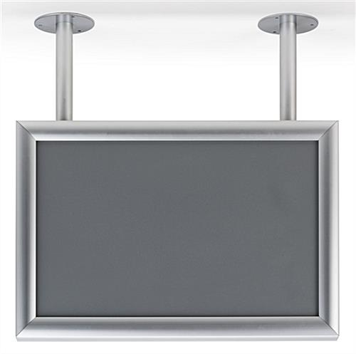 Ceiling flange wide sign display with dual posts