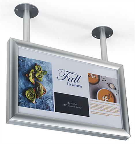 "Ceiling flange wide sign display for 17"" x 11"" poster"