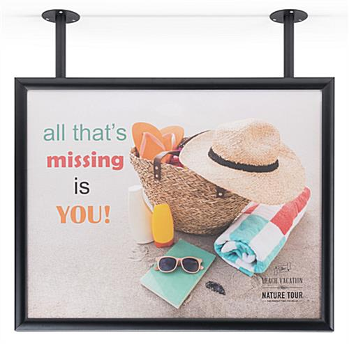 "2-post flange ceiling graphic sign hanger for 28"" x 22"" poster"