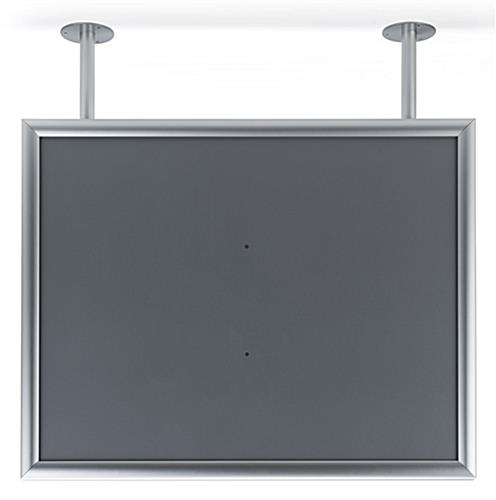 Dual flange ceiling graphics display frame with aluminum construction