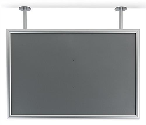 Flange dual pipe mount poster display frame in silver aluminum
