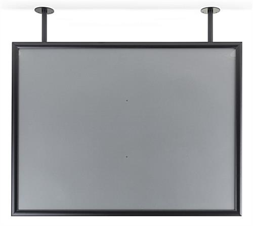 Flange mounted ceiling graphics display frame powder coated finish