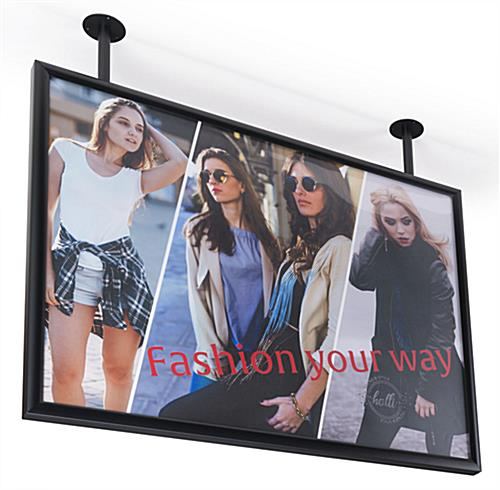 "Flange mounted ceiling graphics display frame for 40"" x 30"" prints"