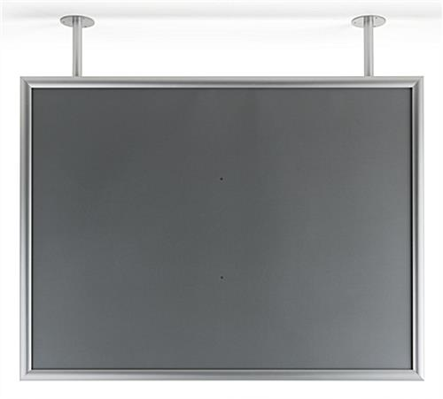 Ceiling flange mounted graphics display frame anodized finish