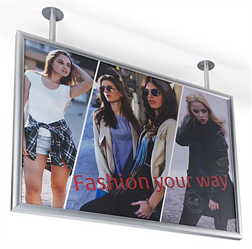 "Ceiling flange mounted graphics display frame for 40"" x 30"" print"