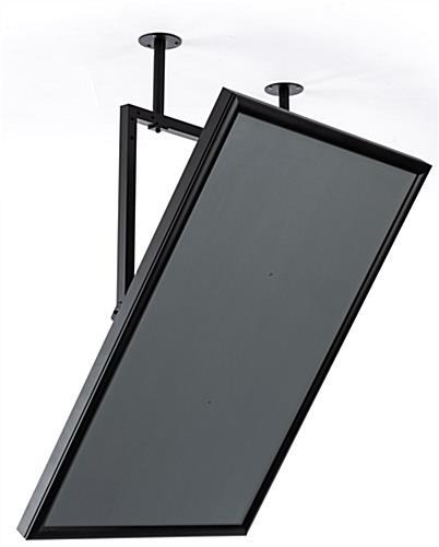 Ceiling Swivel Mount Sign Frame Black Snap Open Edge