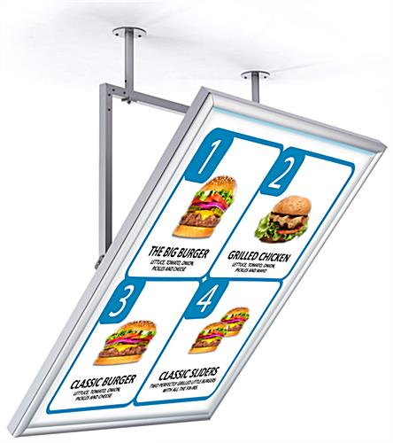 Ceiling hanging swivel sign display frame for 30 x 40 posters