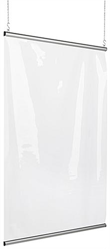 Clear vinyl hanging shield divider with 36 inch wide banner rails
