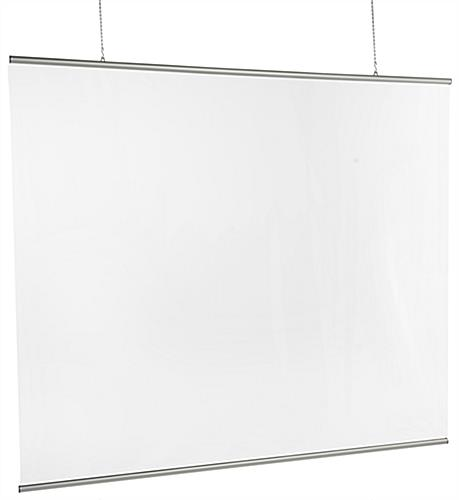 Clear hanging vinyl sneeze guard measures 72 inches wide by 61 inches tall