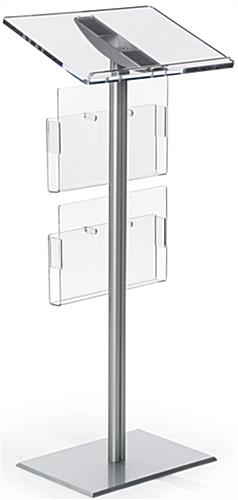 Silver Minimalist Lectern with Brochure Pockets and Clear Acrylic Reading Surface
