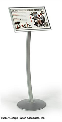 Sign Stand w/ 17 x 11 Snap Frame & Silver Curved Pole