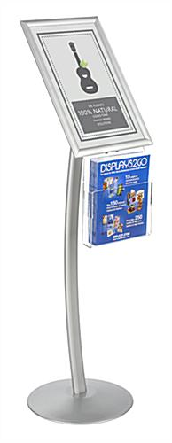"Curved 11"" x 17"" Silver Sign Stand with Literature Pocket"
