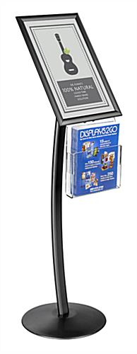 "Curved 11"" x 17"" Black Sign Stand wth Magazine Pocket"