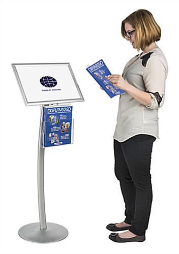 "Floor Standing 17"" x 11"" Silver Sign Display with Literature Tray"